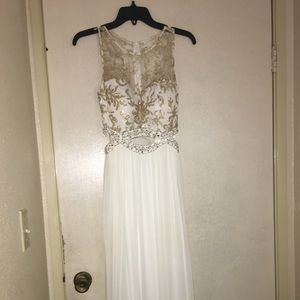 Prom Formal Beautiful White and Gold Dress